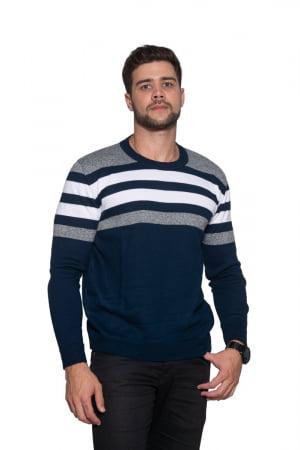 Blusa Masculina Listras Decote Redondo - REF. 943
