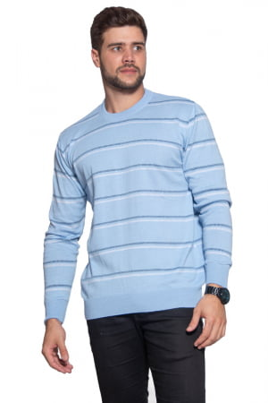 Blusa Masculina Listras Finas Decote Redondo - REF. 951